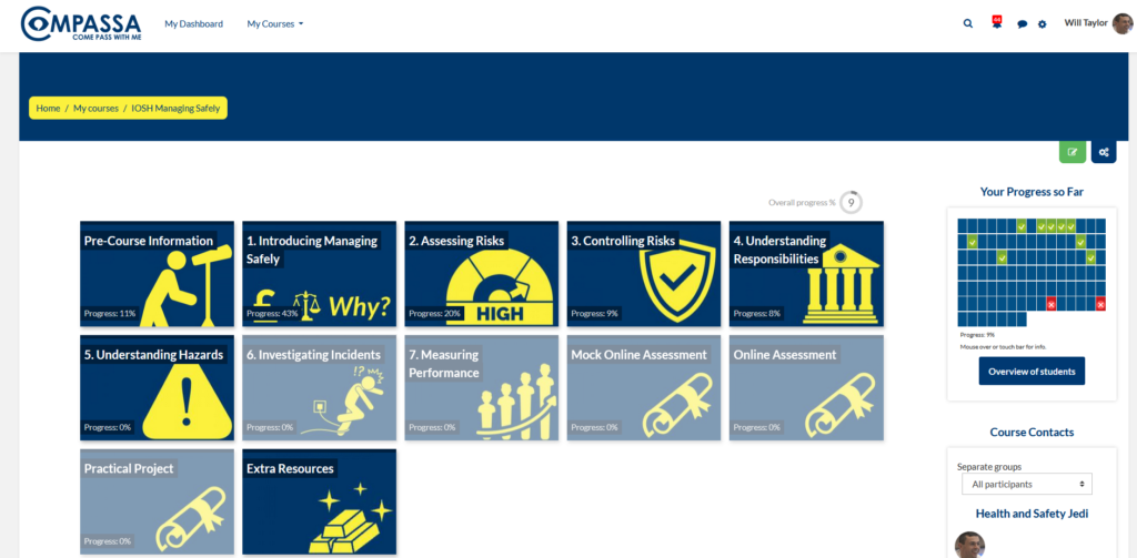 IOSH Managing Safely Online eLearning Course Main Course Page