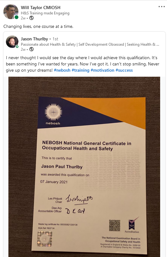 Happy Learner on our NEBOSH National General Certificate in Occupational Safety and Health